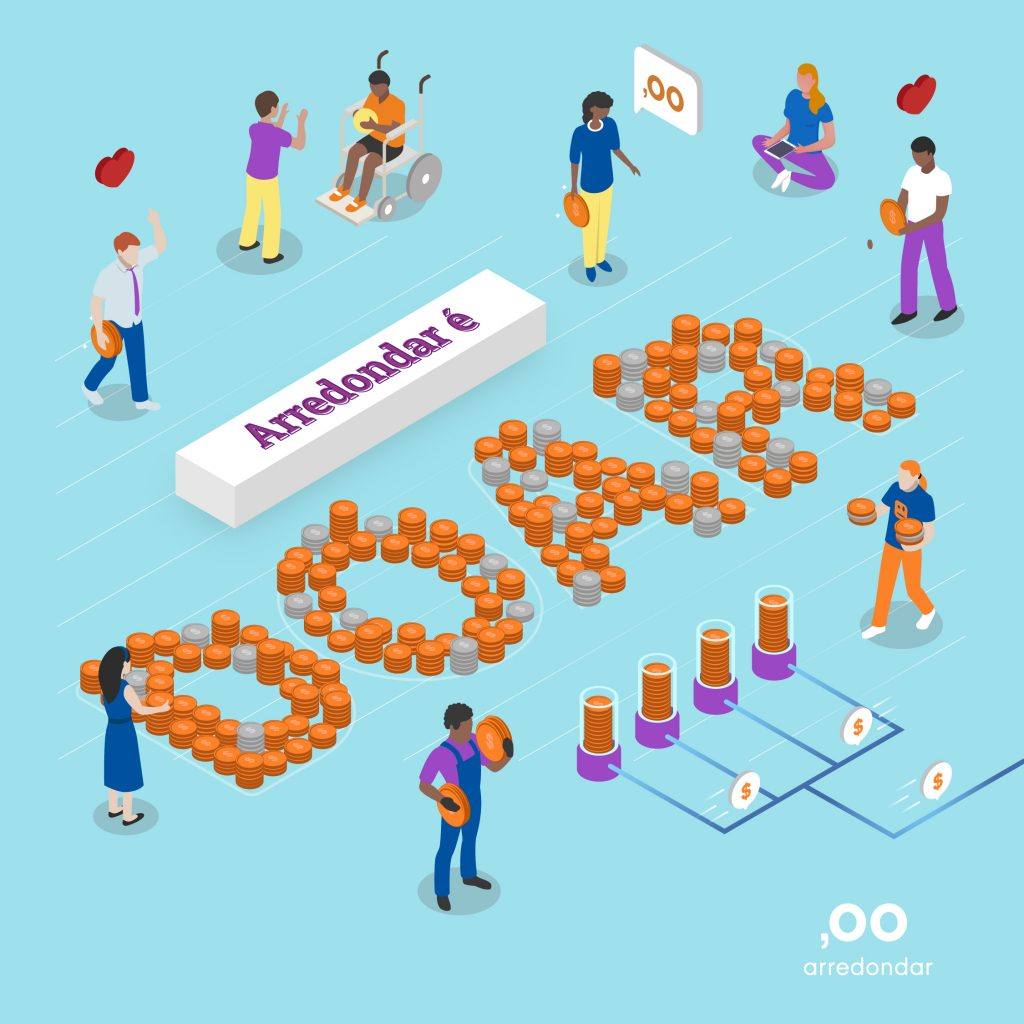 Arredondar e doar. Uma ONG que coleta microdoações em parceria com. varejo, no momento da compra, para levar recursos para outras ONGs.